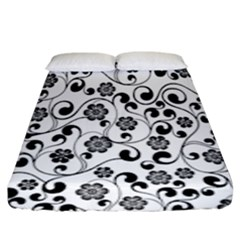 Black White Floral Fitted Sheet (king Size)