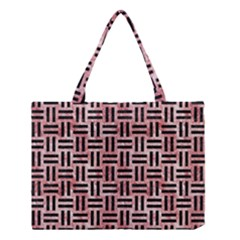 Woven1 Black Marble & Red & White Marble (r) Medium Tote Bag