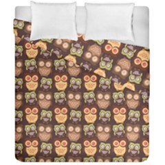 Eye Owl Line Brown Copy Duvet Cover Double Side (california King Size) by Jojostore