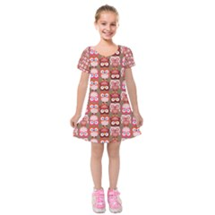 Eye Owl Colorfull Pink Orange Brown Copy Kids  Short Sleeve Velvet Dress