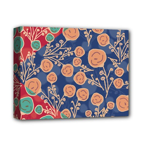 Floral Red Blue Flower Deluxe Canvas 14  X 11  by Jojostore