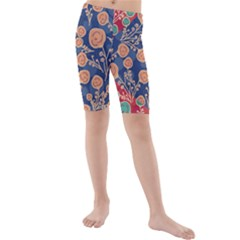 Floral Red Blue Flower Kids  Mid Length Swim Shorts