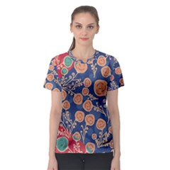 Floral Red Blue Flower Women s Sport Mesh Tee