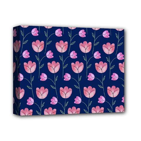 Flower Tulip Floral Pink Blue Deluxe Canvas 14  X 11  by Jojostore