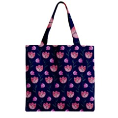 Flower Tulip Floral Pink Blue Zipper Grocery Tote Bag by Jojostore
