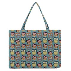 Owl Eye Blue Bird Copy Medium Zipper Tote Bag by Jojostore