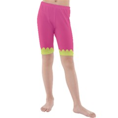 Pink Yellow Kids  Mid Length Swim Shorts