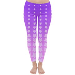 Purple And Pink Stars Line Classic Winter Leggings