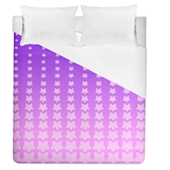 Purple And Pink Stars Line Duvet Cover (queen Size) by Jojostore