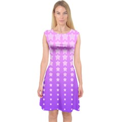 Purple And Pink Stars Capsleeve Midi Dress by Jojostore