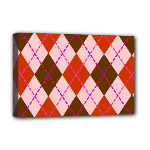 Texture Background Argyle Brown Deluxe Canvas 18  X 12