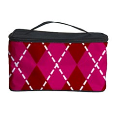 Texture Background Argyle Pink Red Cosmetic Storage Case by Jojostore