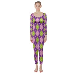 Purple Green Argyle Background Long Sleeve Catsuit