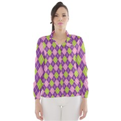 Purple Green Argyle Background Wind Breaker (women)