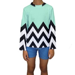 Mint Green Chevron Kids  Long Sleeve Swimwear
