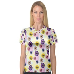 Monster Eye Flower Women s V Neck Sport Mesh Tee by Jojostore