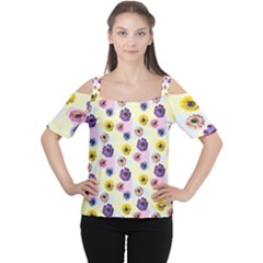 Monster Eye Flower Women s Cutout Shoulder Tee by Jojostore