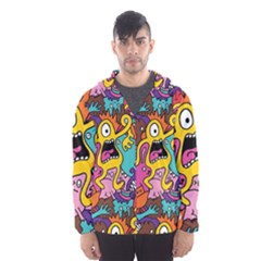 Monsters Pattern Hooded Wind Breaker (men)
