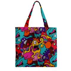 Monsters Pattern Zipper Grocery Tote Bag