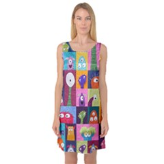 Monster Quilt Sleeveless Satin Nightdress