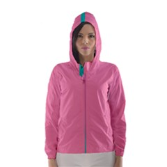 Pink Blue Three Color Hooded Wind Breaker (women)