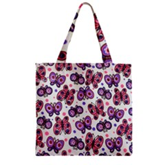 Pink Purple Butterfly Zipper Grocery Tote Bag