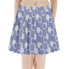 Round Blue Pleated Mini Skirt