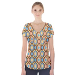 Round Color Short Sleeve Front Detail Top
