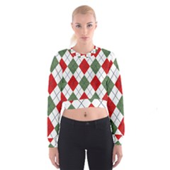 Red Green White Argyle Navy Women s Cropped Sweatshirt