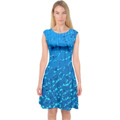 Shattered Blue Glass Capsleeve Midi Dress