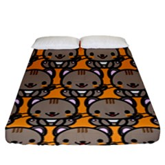 Sitcat Orange Brown Fitted Sheet (king Size) by Jojostore