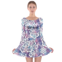 Cute Colorful Nenuphar Flower Long Sleeve Skater Dress by Brittlevirginclothing