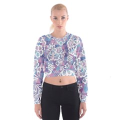 Cute Colorful Nenuphar Flower Women s Cropped Sweatshirt by Brittlevirginclothing