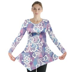Cute Colorful Nenuphar Flower Long Sleeve Tunic  by Brittlevirginclothing
