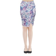 Cute Colorful Nenuphar Flower Midi Wrap Pencil Skirt by Brittlevirginclothing