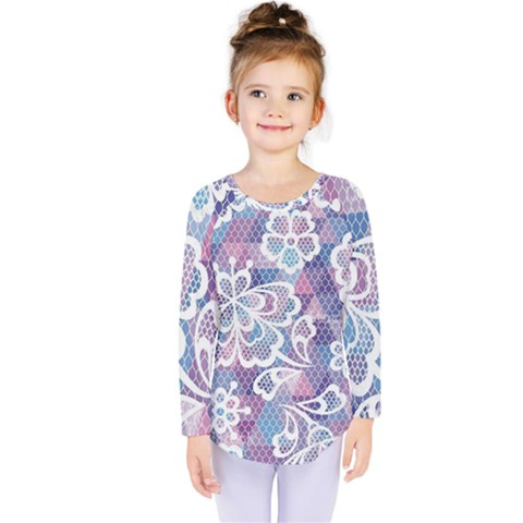 Cute Colorful Nenuphar Flower Kids  Long Sleeve Tee by Brittlevirginclothing