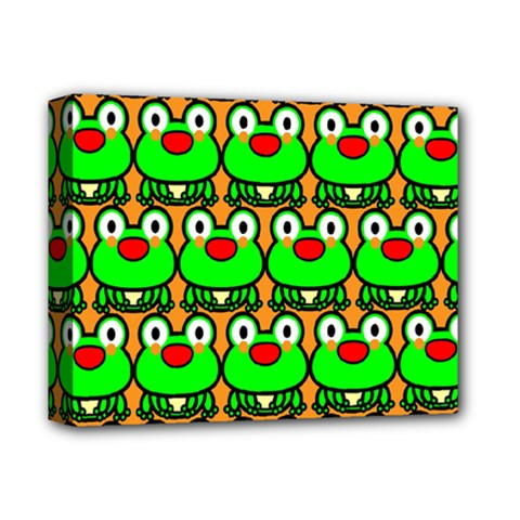 Sitfrog Orange Green Frog Deluxe Canvas 14  X 11  by Jojostore