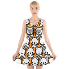 Sitwhite Cat Orange V Neck Sleeveless Skater Dress