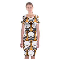 Sitwhite Cat Orange Classic Short Sleeve Midi Dress