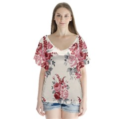 Rose Beauty Flora Flutter Sleeve Top by Jojostore