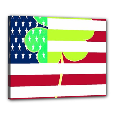 Usa Ireland American Flag Shamrock Irish Funny St Patrick Country Flag  Canvas 20  X 16  by yoursparklingshop