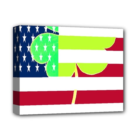 Usa Ireland American Flag Shamrock Irish Funny St Patrick Country Flag  Deluxe Canvas 14  X 11  by yoursparklingshop
