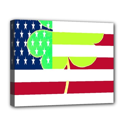 Usa Ireland American Flag Shamrock Irish Funny St Patrick Country Flag  Deluxe Canvas 20  X 16   by yoursparklingshop