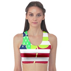 Usa Ireland American Flag Shamrock Irish Funny St Patrick Country Flag  Sports Bra