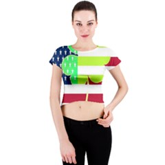 Usa Ireland American Flag Shamrock Irish Funny St Patrick Country Flag  Crew Neck Crop Top