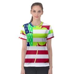 Usa Ireland American Flag Shamrock Irish Funny St Patrick Country Flag  Women s Sport Mesh Tee