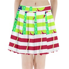 Usa Ireland American Flag Shamrock Irish Funny St Patrick Country Flag  Pleated Mini Skirt