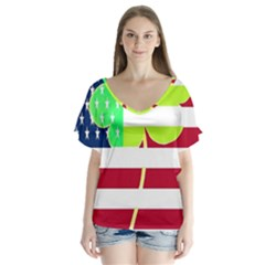 Usa Ireland American Flag Shamrock Irish Funny St Patrick Country Flag  Flutter Sleeve Top