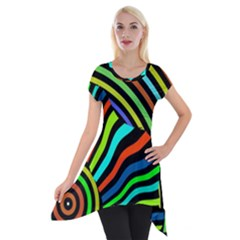 Colorful Cat Short Sleeve Side Drop Tunic
