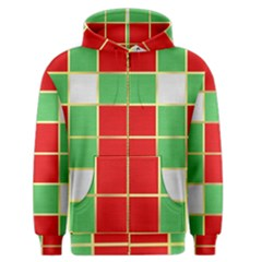 Christmas Fabric Textile Red Green Men s Zipper Hoodie